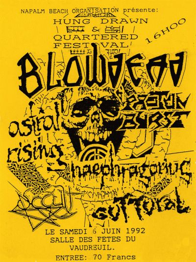 """6 juin 92 Proton Burst, Blowdead, Astral Rising, Haephragorius, Guttural à Vaudreuil """"Salle des Fetes"""""""