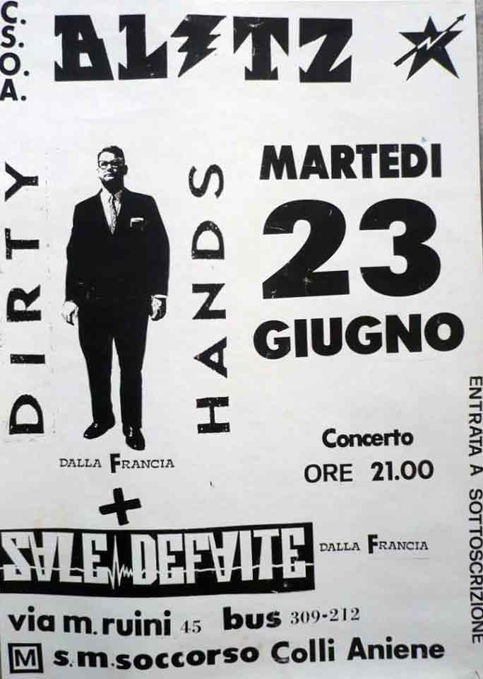 23 juin 1992 Dirty Hands, Sale Defaite à Rome