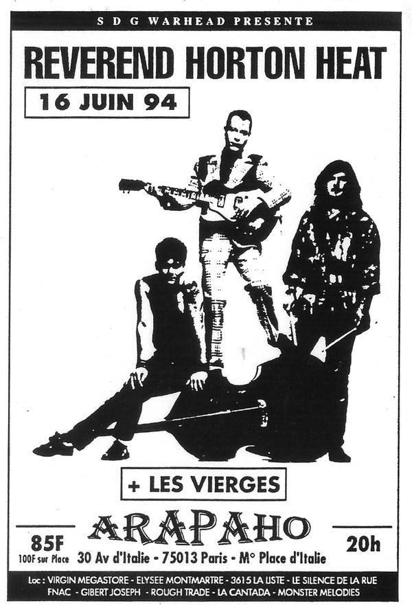 """16 juin 1994 Reverend Horton Heat, les Vierges à Paris """"Arapaho"""""""