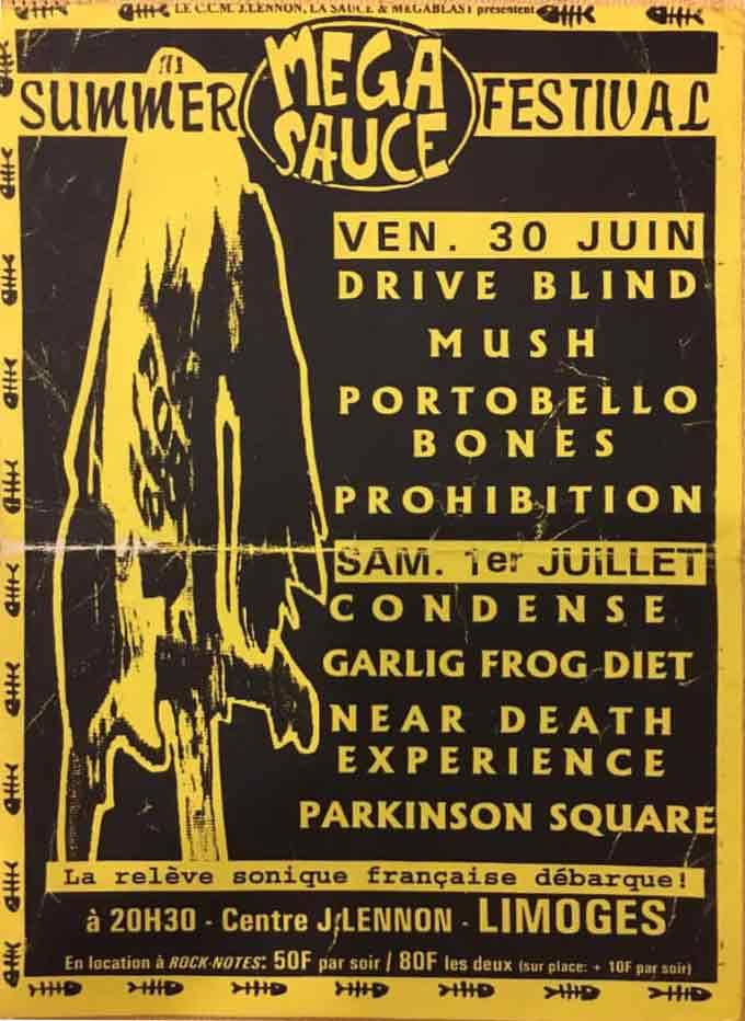 """30 juin 1995 Drive Blind, Mush, Portobello Bones, Prohibition à Limoges """"Centre John Lennon"""""""
