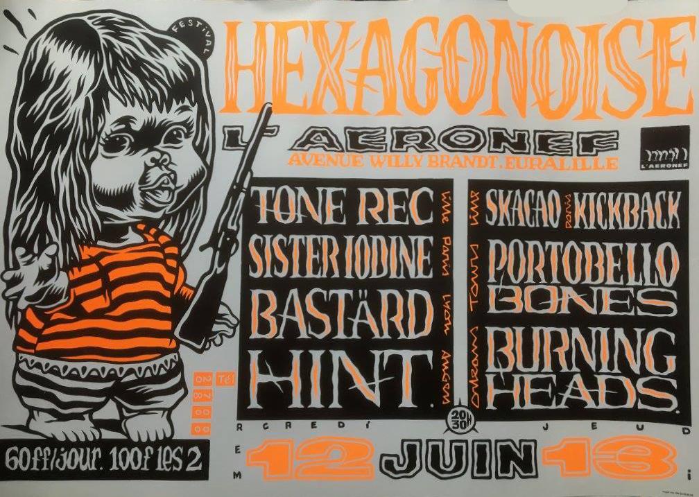 "12 juin 1996 Tone Rec, Sister Iodine, Bastard, Hint à Lille ""Aeronef"""