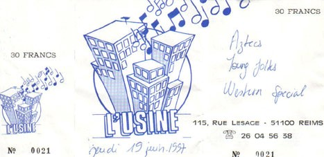 "19 juin 1997 Aztecs, Young Folks, Western Special à Reims ""Usine"""