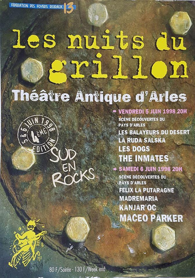 """5 juin 1998 Les Balayeurs du Desert, la Ruda Salska, les Dogs, the Inmates à Arles """"Théâtre Antique"""""""