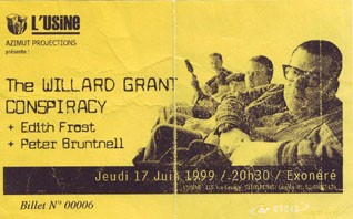 "17 juin 1999 The Willard Grant Conspiracy, Edith Frost, Peter Bruntnell à Reims ""Usine"""