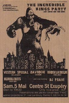 "5 mai 2001 Western Special, Gavroche, Roselicoeur, Bumblebees, DJ Prave à Reims ""Centre Saint Exupery"""