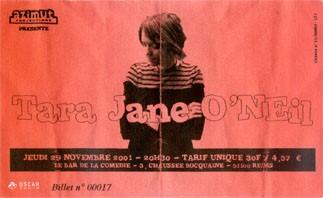 "29 novembre 2001 Tara Jane O'Neil à Reims ""Bar de la Comedie"""