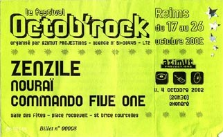 """4 Octobre 2002 Zenzile, Nourai,Commando Five One à Saint Brice Courcelles """"Salle des Fetes"""""""