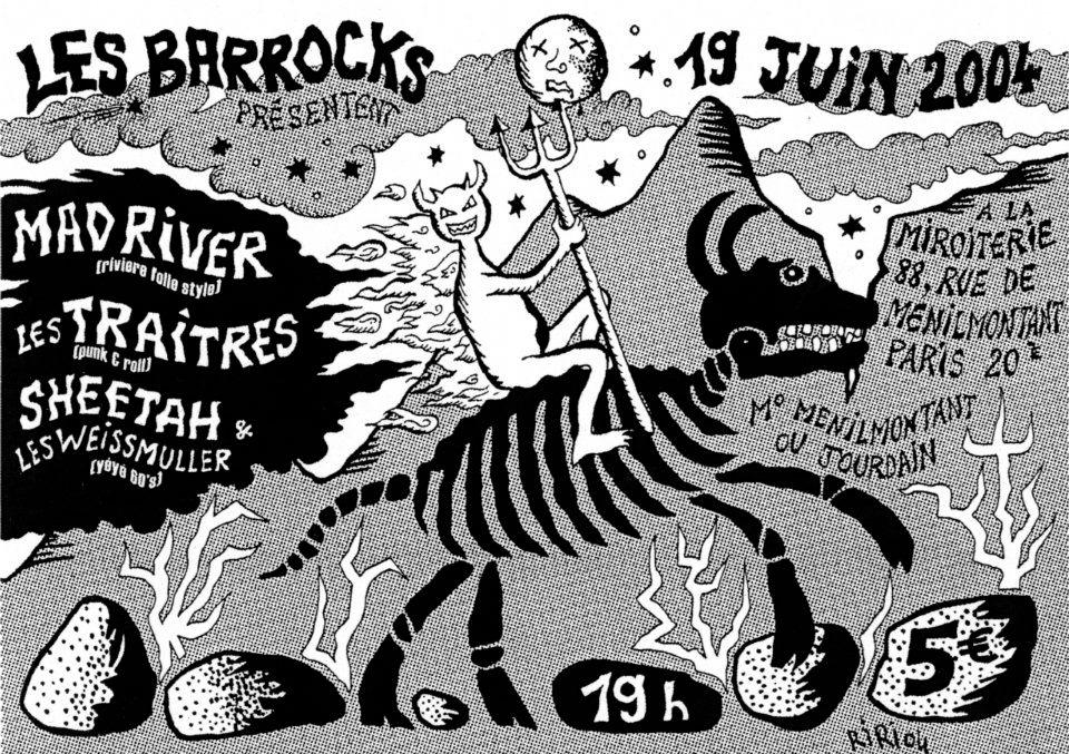 """19 juin 2004 Mad River, Les Traitres, Sheetah & les Weissmuller à Paris """"la Miroiterie"""""""