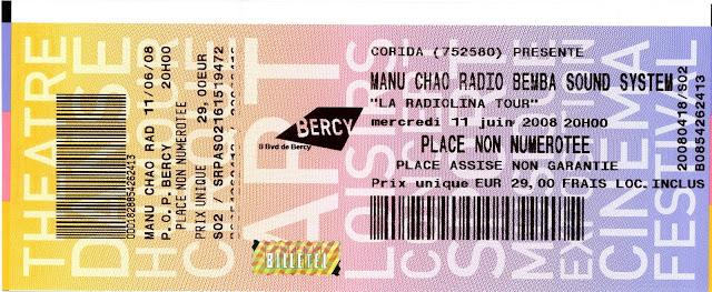 "11 juin 2008 Manu Chao à Paris ""Bercy"""