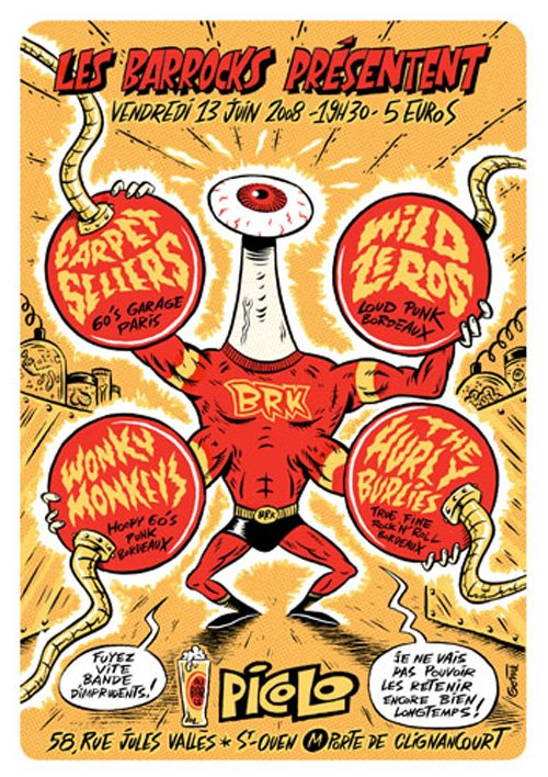 """13 juin 2008 Carpet Sellers, Wild Zeros, Wonky Monkeys, The Hurly Burlies à Saint Ouen """"le Picolo"""""""