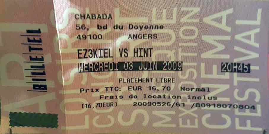 "3 juin 2009 Ez3kiel, Hint à Angers ""le Chabada"""