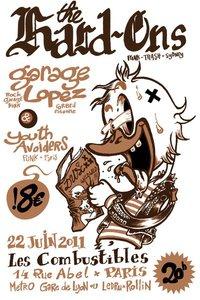 "22 juin 2011 Hard Ons, Garage Lopez, Youth Avoiders à Paris ""Les Combustibles"""
