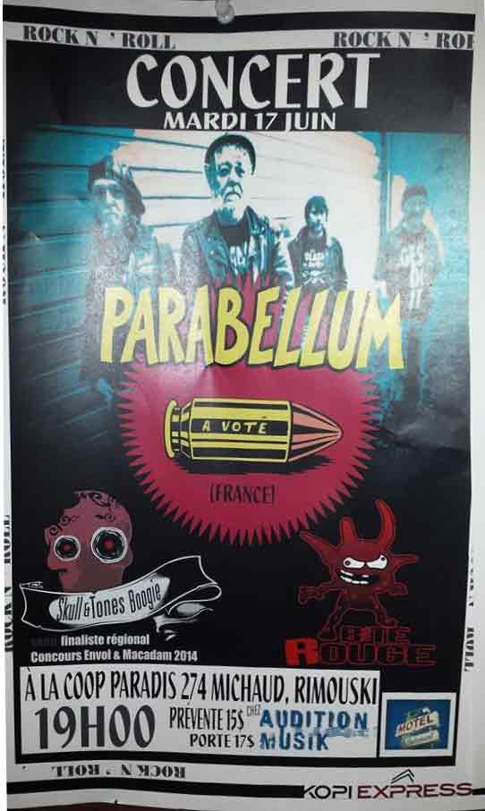 """17 juin 2014 Parabellum, Skull & Tones Boogie, Baate Rouge à Rimouski """"le Paradis"""""""