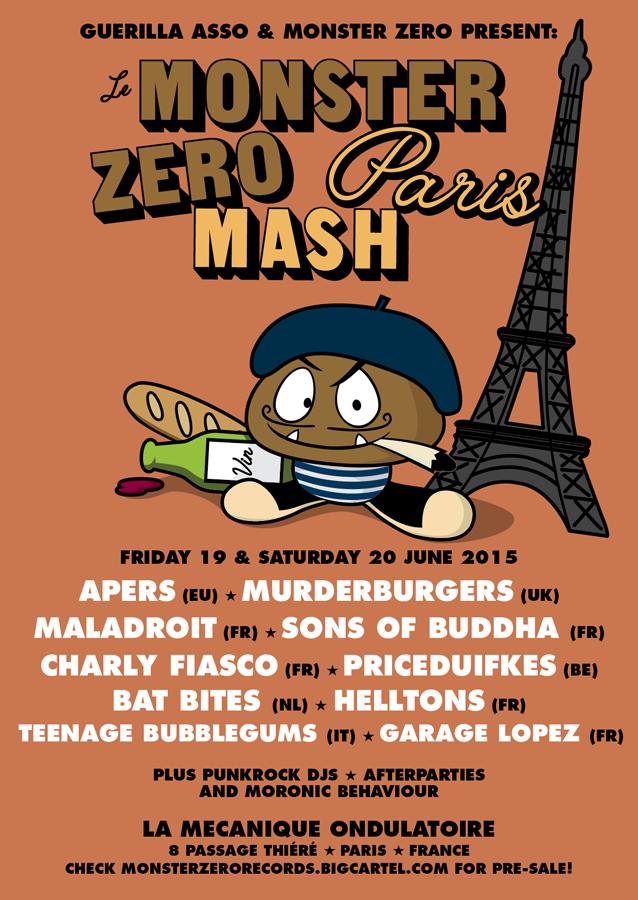 """19 juin 2015 Garage Lopez, The Apers, Maladroit, Sons of Buddha, Teenage Bubblegums à Paris """"La Mécanique Ondulatoire"""""""