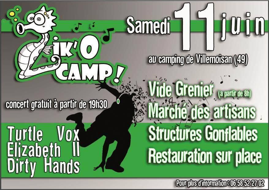 "11 juin 2016 Turtle Vox, Elizabeth II, Dirty Hands à Villemoisan ""Camping"""