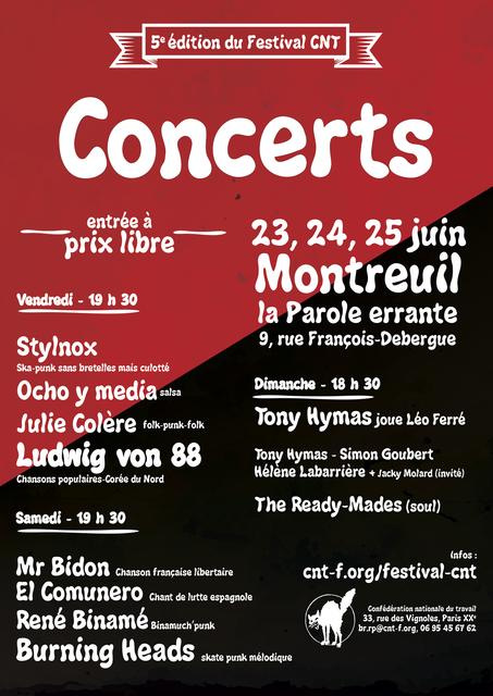 "23 juin 2017 Stylnox, Ocho Y Media, Julie Colere, Ludwig Von 88 à Montreuil ""la Parole Errante"""