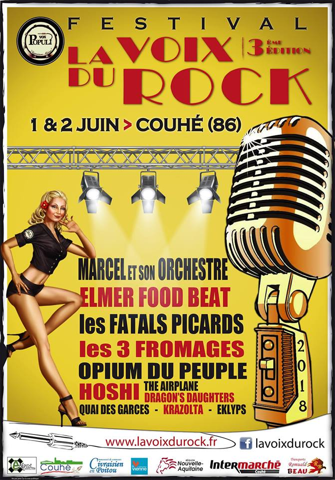 "2 juin 2018 Marcel et Son Orchestre, Opium du Peuple, Les 3 Fromages, The Airplane, Eklyps, Dragons Daughters à Couhé ""Abbaye de Valence"""