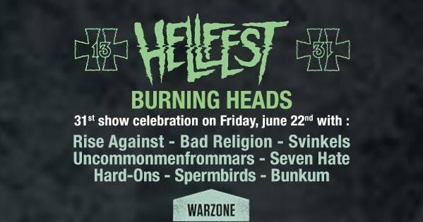 22 juin 2018 Burning Heads, Rise Against, Bad Religion, Svinkels, Uncommonmenfrommars, Seven Hate, Hard Ons, Spermbirds, Bunkum à Clisson