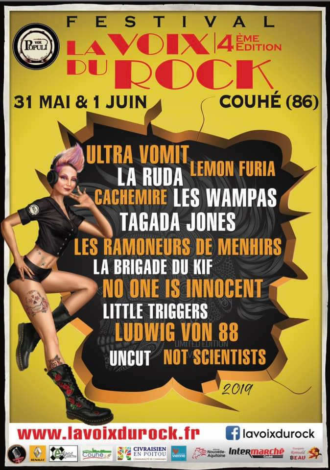 "1er juin 2019 Ultra Vomit, Tagada Jones, Ludwig von 88, No One Is Innocent, Not Scientists, Little Triggers, UnCuT à Couhé ""Abbaye de Valence"""