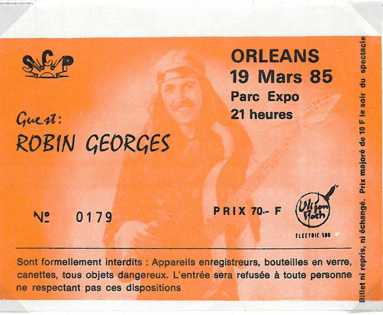 """19 mars 1985 Uli Jon Roth, Robin Georges à Orléans """"Parc des Expositions"""""""