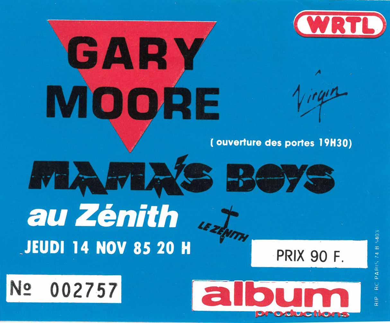 "14 novembre 1985 Gary Moore, Mama's Boys à Paris ""Zenith"""