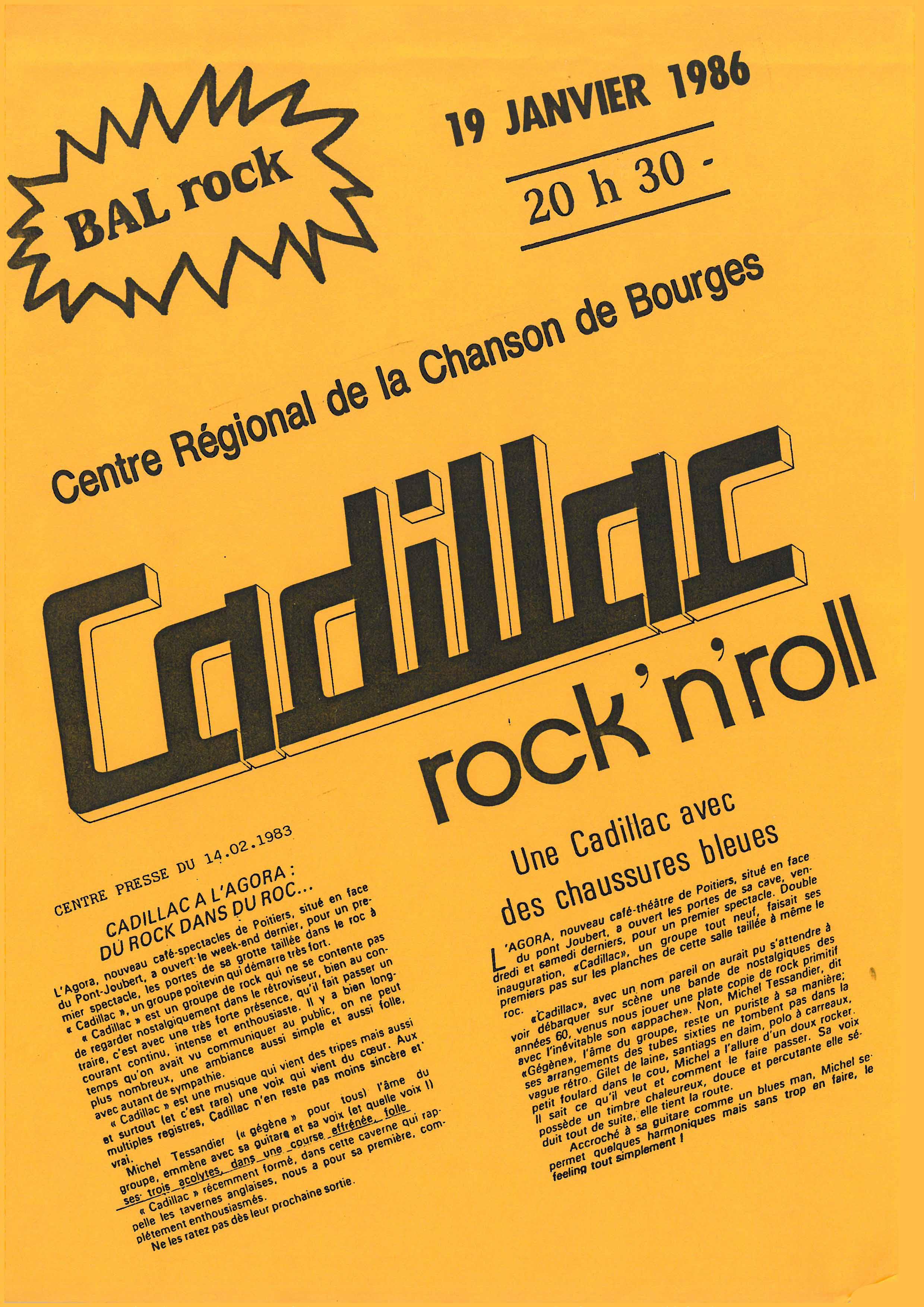 """19 janvier 1986 Cadillac à Bourges """"Centre Regional de la Chanson"""""""