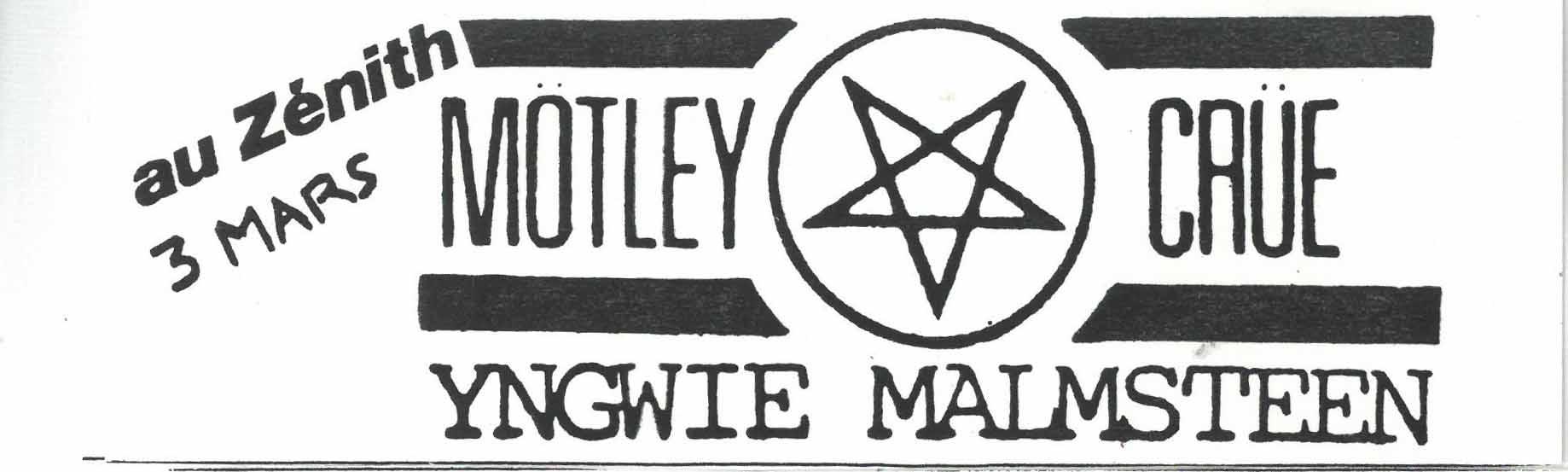 "3 mars 1986 Motley Crue, Yngwie Malmsteen à Paris ""Zenith"""