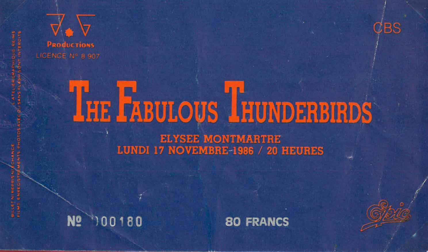 """17 novembre 1986 Les Bandits, Fabulous Thunderbirds à Paris """"Elysee Montmartre"""""""