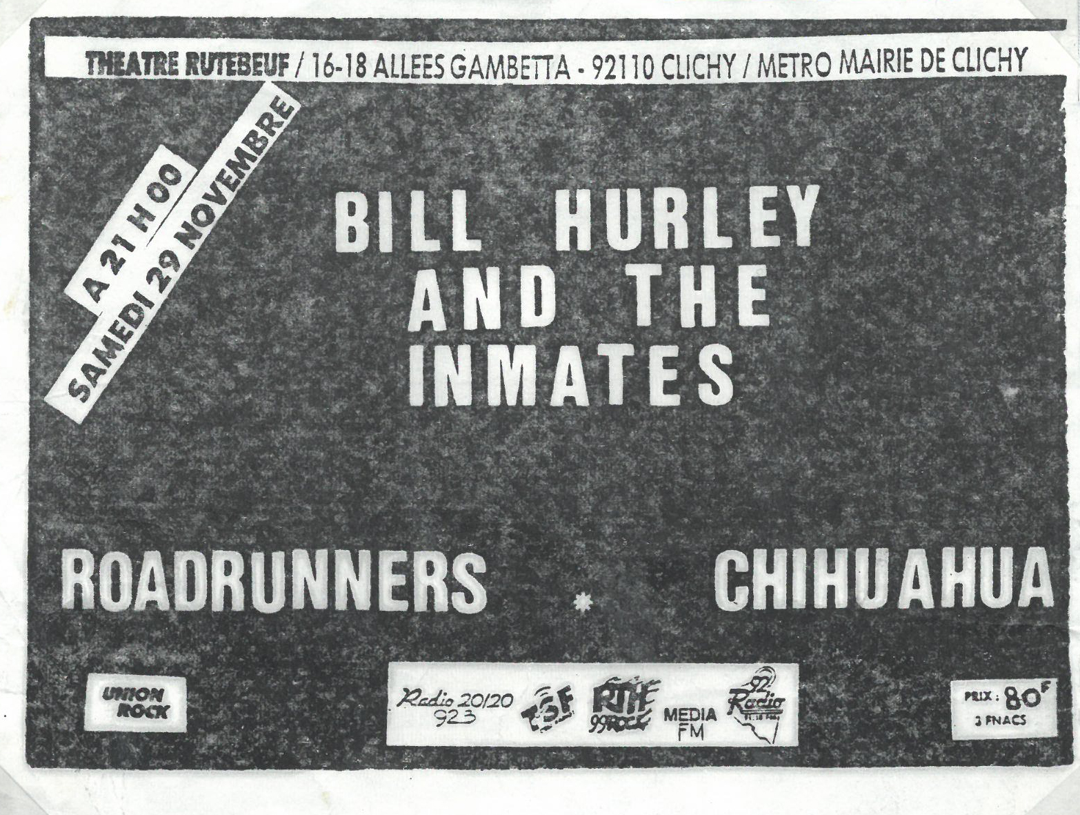 "29 novembre 1986 Bill Hurley and The Inmates, Roadrunners, Chihuahua à Clichy ""Theatre Rutebeuf"""