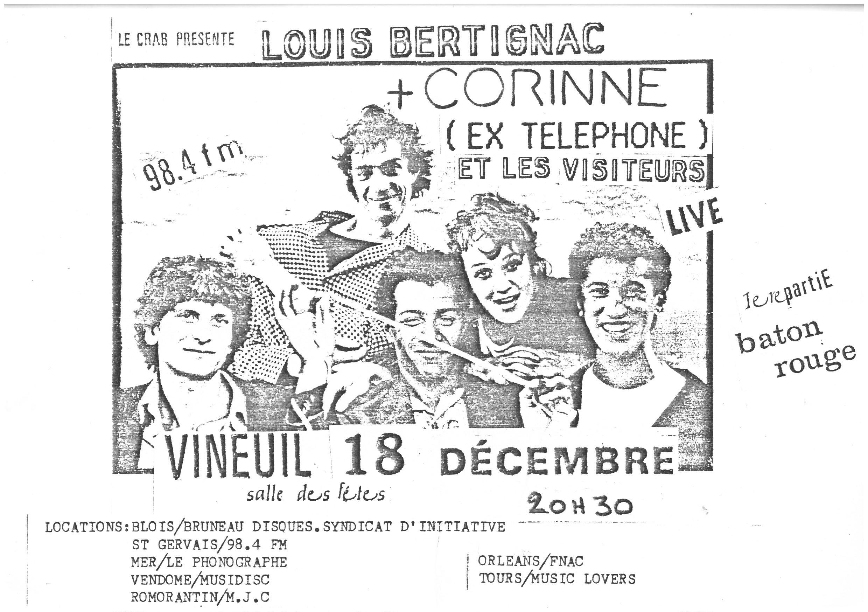 """18 decembre 1986 Louis Bertignac et les Visiteurs à Vineuil """"Salle des Fetes"""""""