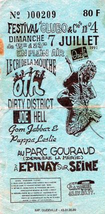 """7 juillet 1991 le Cri de la Mouche, OTH, Dirty District, Joe Hell, Gom Jabbar & Puppa Leslie à Epinay Sur Seine """"Parc Gouraud"""""""