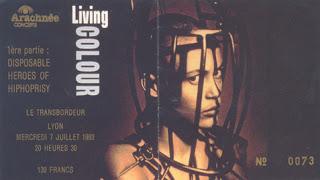 """7 juillet 1993 Living Colour à Villeurbanne """"Transbordeur"""""""