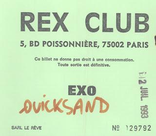 """12 juillet 1993 Quicksand à Paris """"Rex Club"""""""
