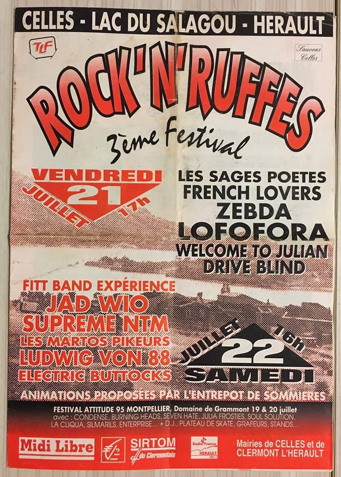 """21 juillet 1995 Les Sages Poetes, French Lovers, Zebda, Lofofora, Welcome To Julian, Drive à Blind à Celles """"Lac Du Salagou"""""""