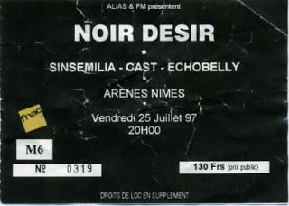 """25 juillet 1997 Noir Desir, Sinsemilia, Cast, Echobelly à Nimes """"les Arenes"""""""