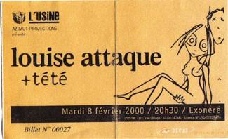 """8 février 2000 Louise Attaque, Tété à Reims """"Usine"""""""
