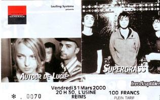 """31 mars 2000 Autour de Lucie, Supergrass à Reims """"Usine"""""""
