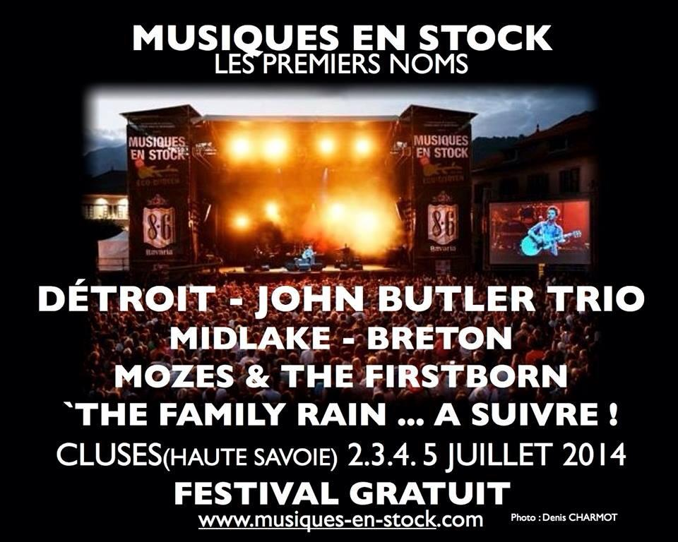 Juillet 2014 Detroit, John Butler Trio, Midlake, Breton, Mozes & The Firstborn, The Family Rain à Cluses