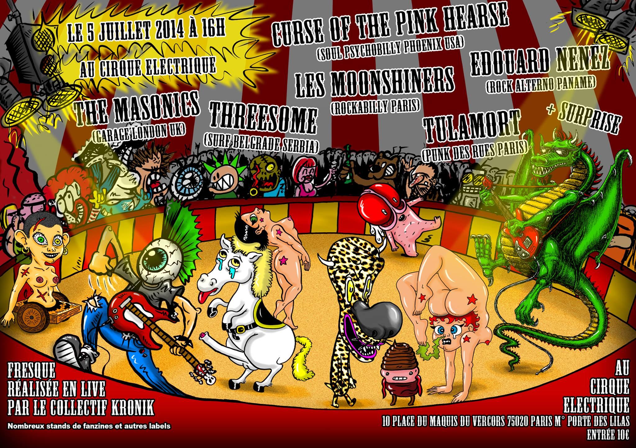 """5 juillet 2014 Curse Of The Peace, The Masonics, Threesome, les Moonshiners, Edouard Nenez, Tulamort à Paris """"Cirque Electrique"""""""