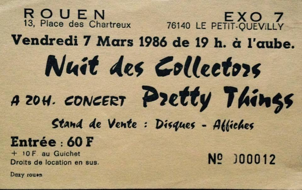 "7 mars 1986 Pretty Things à Petit Quevilly ""Exo 7"""