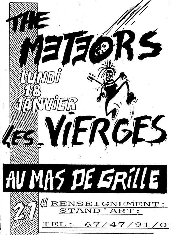 """18 janvier 1988 The Meteors, les Vierges à Montpellier """"Mas de Grille"""""""