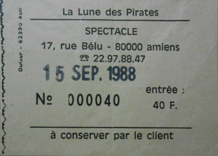 """15 septembre 1988 les Thugs à Amiens """"la Lune des Pirates"""""""