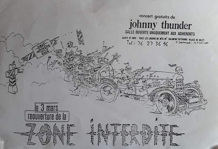 "3 mars 1989 Johnny Thunders à Grenoble ""Zone Interdite"""