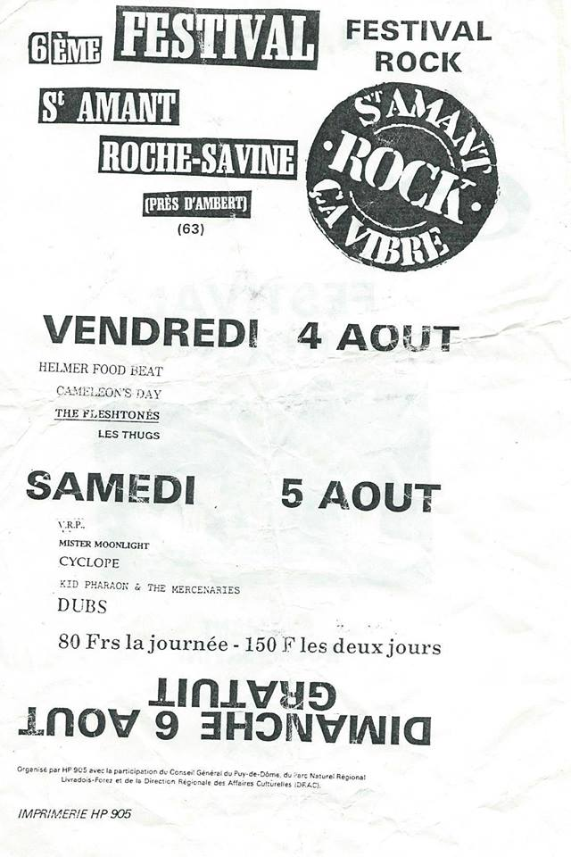4 aout 1989 Les Thugs, The Fleshtones, Cameleon's Day, Elmer Food Beat à Saint Amant Roche Savine