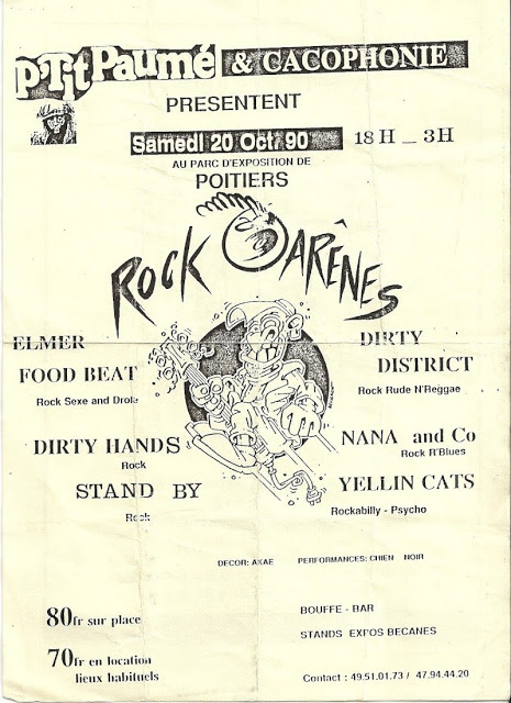 "20 octobre 1990 Elmer Food Beat, Dirty Hands, Stand By, Dirty District, Nana & Co, Yellin Cats à Poitiers ""Parc des Expositions"""