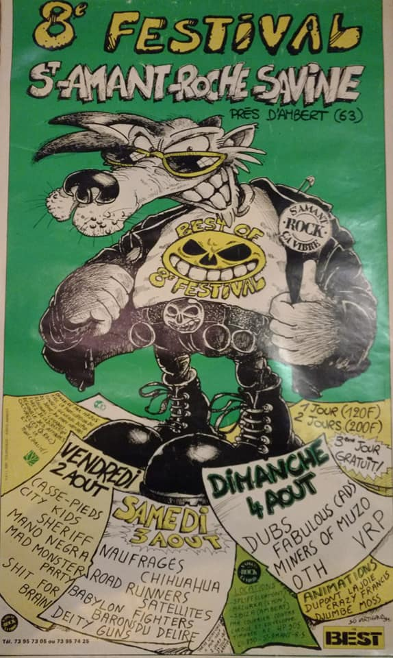 2 aout 1991 Casse Pieds, City Kids, Sheriff, Mano Negra, Mad Monster Party, Shit For Brain à Saint Amand Roche Savine