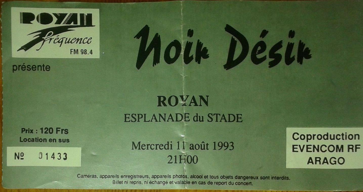 """11 aout 1993 City Kids, Noir Desir à Royan """"Esplanade du Stade"""""""