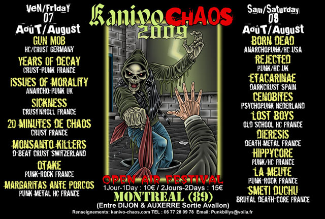 7 aout 2009 Gun Mob, Years Of Decay, Issues Of Morality, Sickness, 20 Minutes de Chaos, Monsanto Killers, Otake, Margaritas Ante Porcos à Montreal