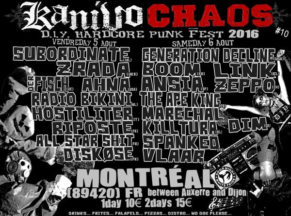 5 aout 2016 Subordinate, Zrada, Der Fish, Ahna, Radio Bikini, Hostiliter, Riposte, All Star Shit, Diskose à Montreal
