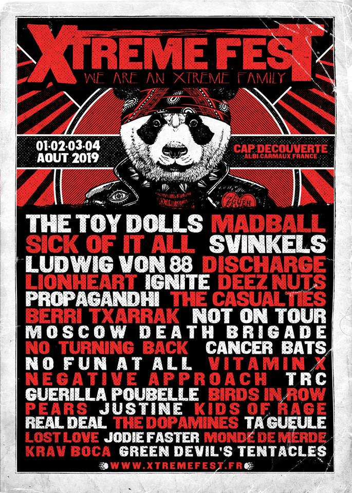3 août 2019 The Toy Dolls, Sick Of It All, Ignite, The Casualties, Negative Approach, No Turning Back, Kids Of Rage, Real Deal, Monde de Merde, Jodie Faster, Justin(e), Ta Gueule à Cap Découverte